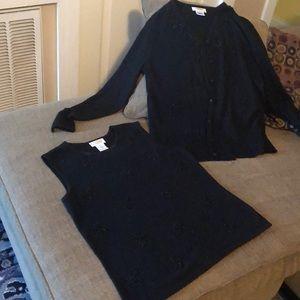 Talbots black Silk & cashmere beaded sweater set